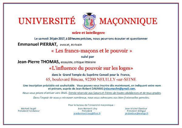 Les francs-maçons et le pouvoir avec Emmanuel Pierrat et Jean-Pierre Thomas le 24 juin 2017 à l'Université Maçonnique à Paris