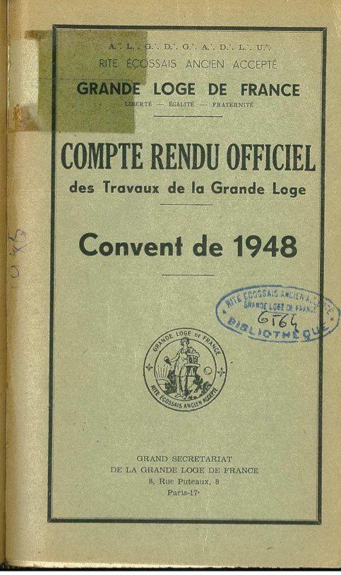 GLDF 1948 : le rapport Marty. Un tournant majeur du retour de la Grande Loge de France dans la voie initiatique et symbolique.