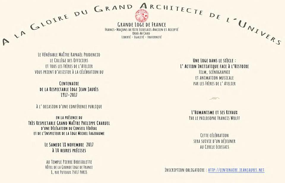 Centenaire de la Loge Jean Jaurès de la Grande Loge de France le samedi 18 novembre 2017 à Paris