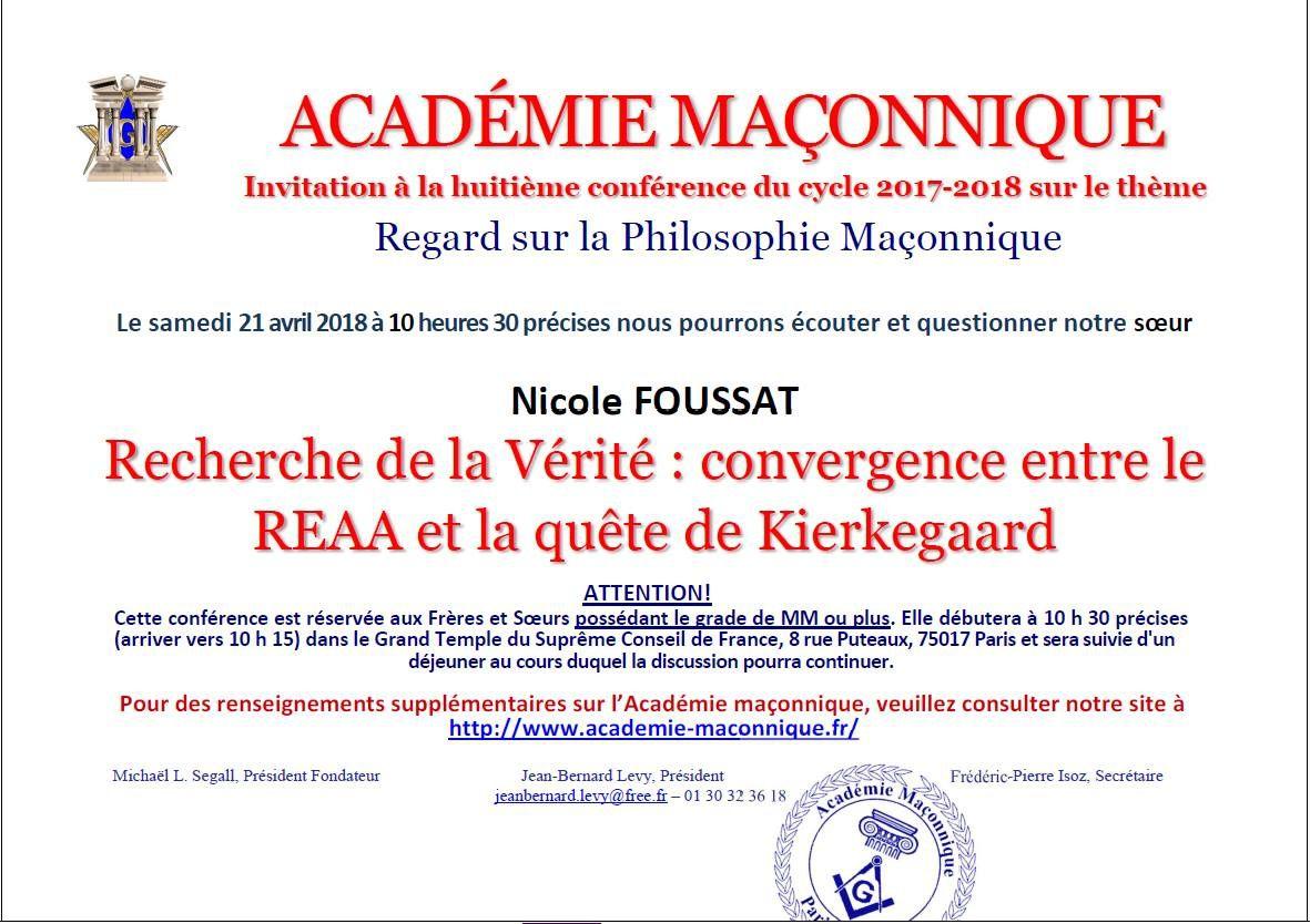 Académie Maçonnique : Convergence entre le REAA et Kierkegaard le 21 avril 2018 à Paris.