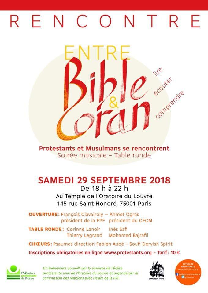 Protestants et musulmans se rencontrent entre Bible et Coran le 29 septembre 2018 à l'Oratoire du Louvre à Paris