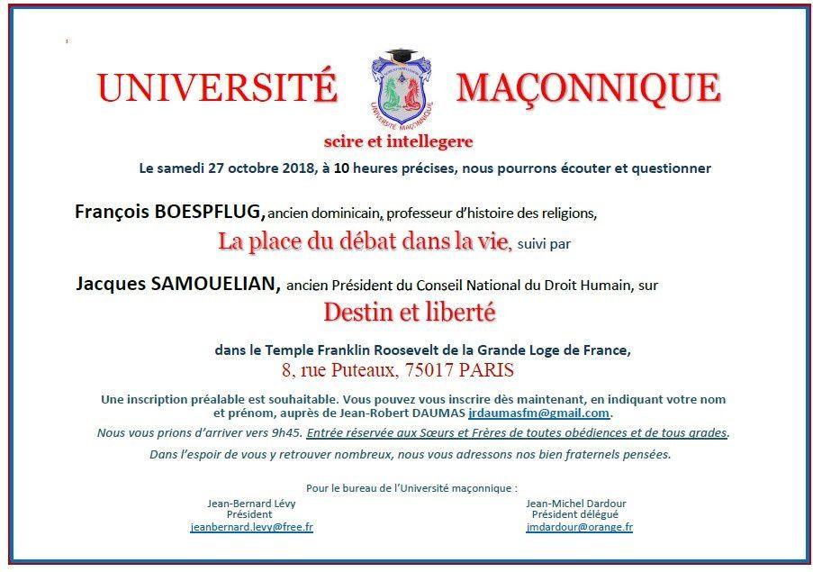 UM : Jacques SAMOUELIAN et Francois BOESPFLUG à propos du débat, du destin, de la liberté et de la vie, le 27 octobre 2018 à Paris
