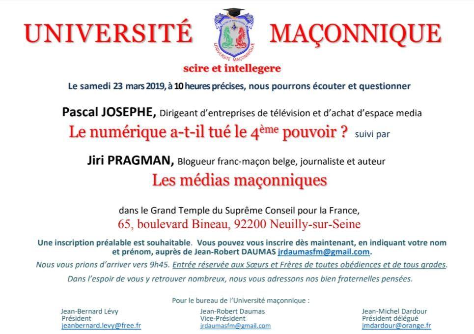 UM : Numérique et médias maçonniques avec Pascal Josephe et Jiri Pragman le 23 mars 2019 à Paris