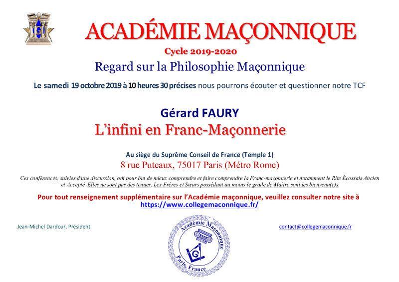 AM : L'Infini en Franc-Maçonnerie. Conférence de Gérard Faury le 19 octobre à Paris.