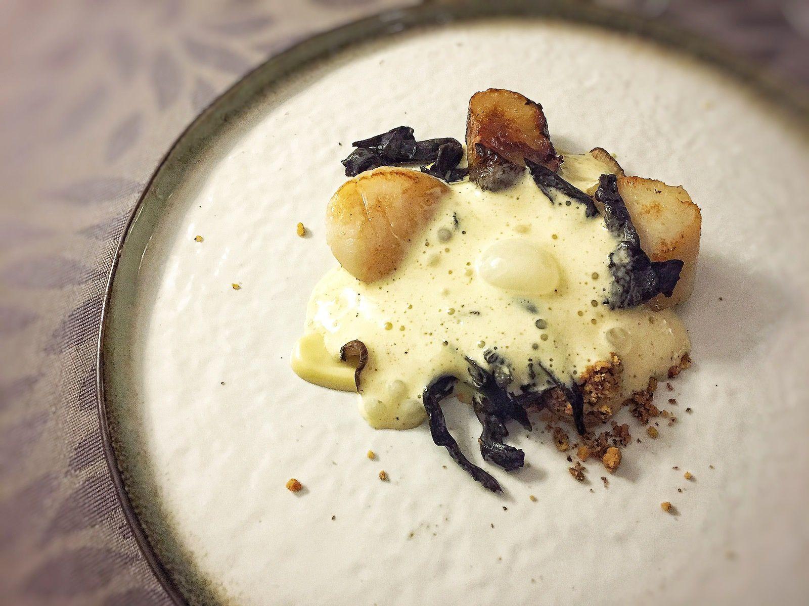 Saint-jacques/topi/trompettes/truffe blanche