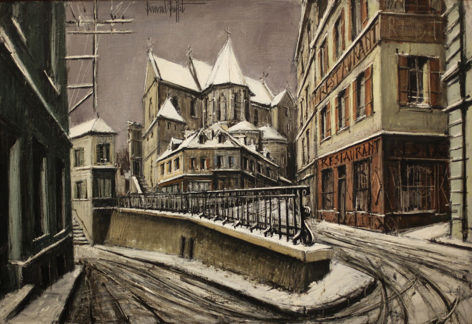 """Paysages de neige, Pontoise, l'Église Saint Maclou"", 1976 de Bernard BUFFET - Courtesy Fonds de dotation B. Buffet © Photo Éric Simon"