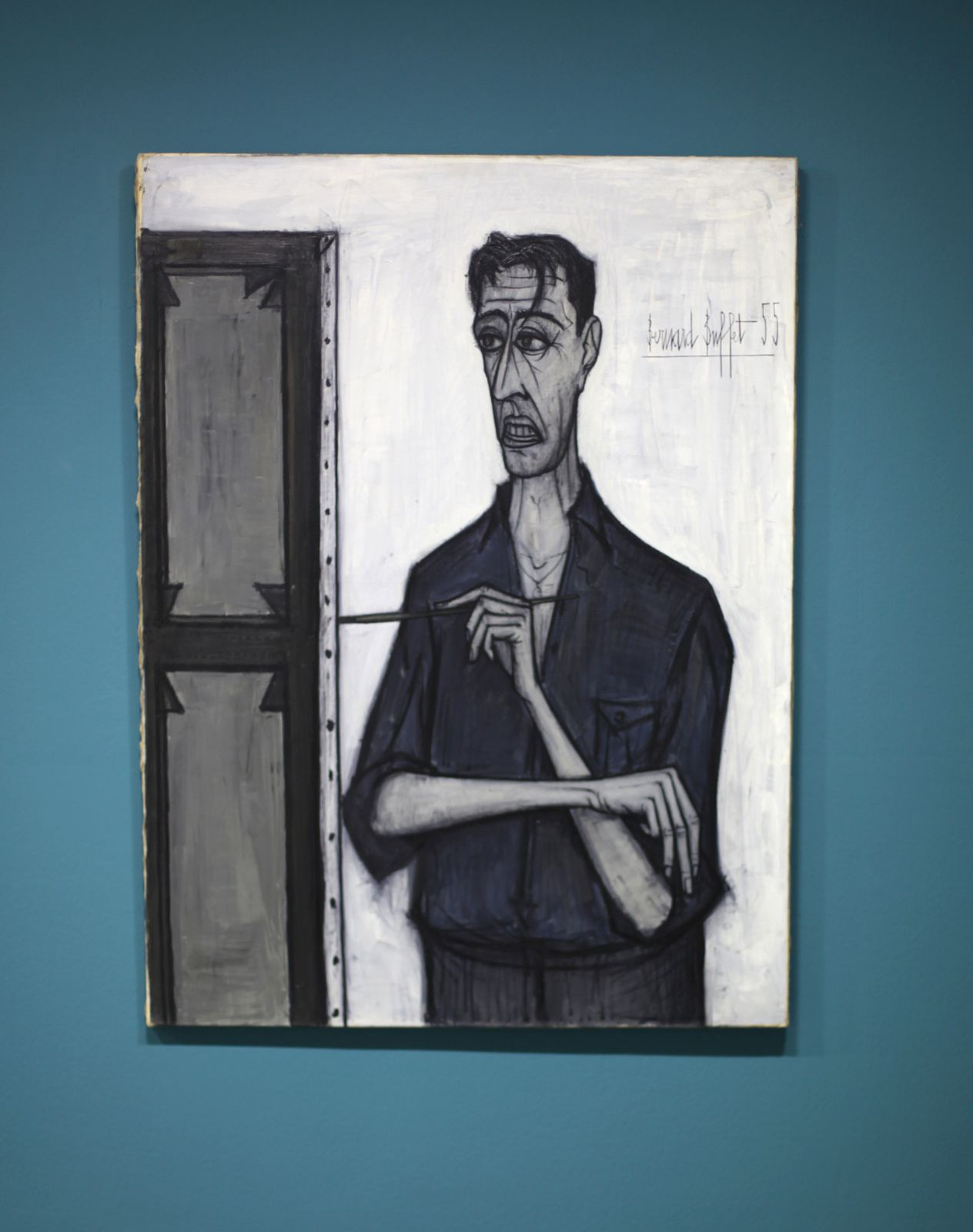 """Autoportrait sur fond blanc"", 1955 de Bernard BUFFET - Courtesy Collection Pierre Bergé © Photo Éric Simon"