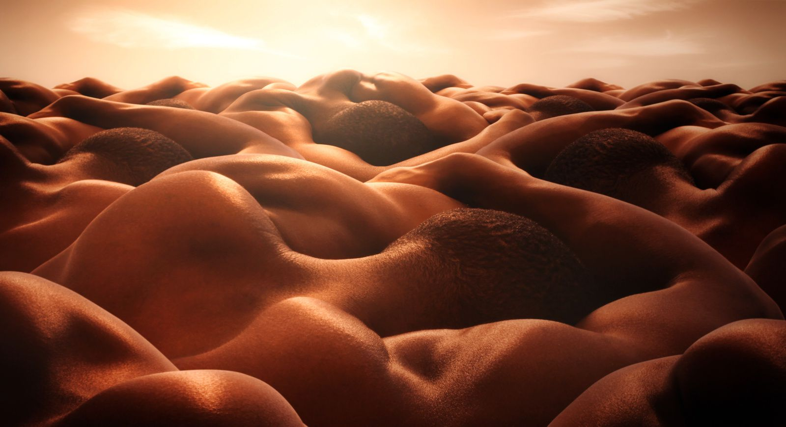 """Desert of sleeping men"" de Carl WARNER - Courtesy Galerie Sakura © Photo Éric Simon"