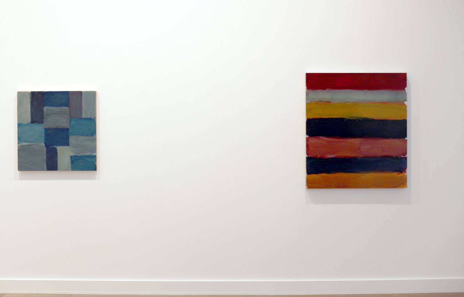 """Wall Blue"", 2015 et ""Landline Red Yellow Blue"", 2015 de Sean SCULLY - Courtesy Galerie Lelong © Photo Éric Simon"