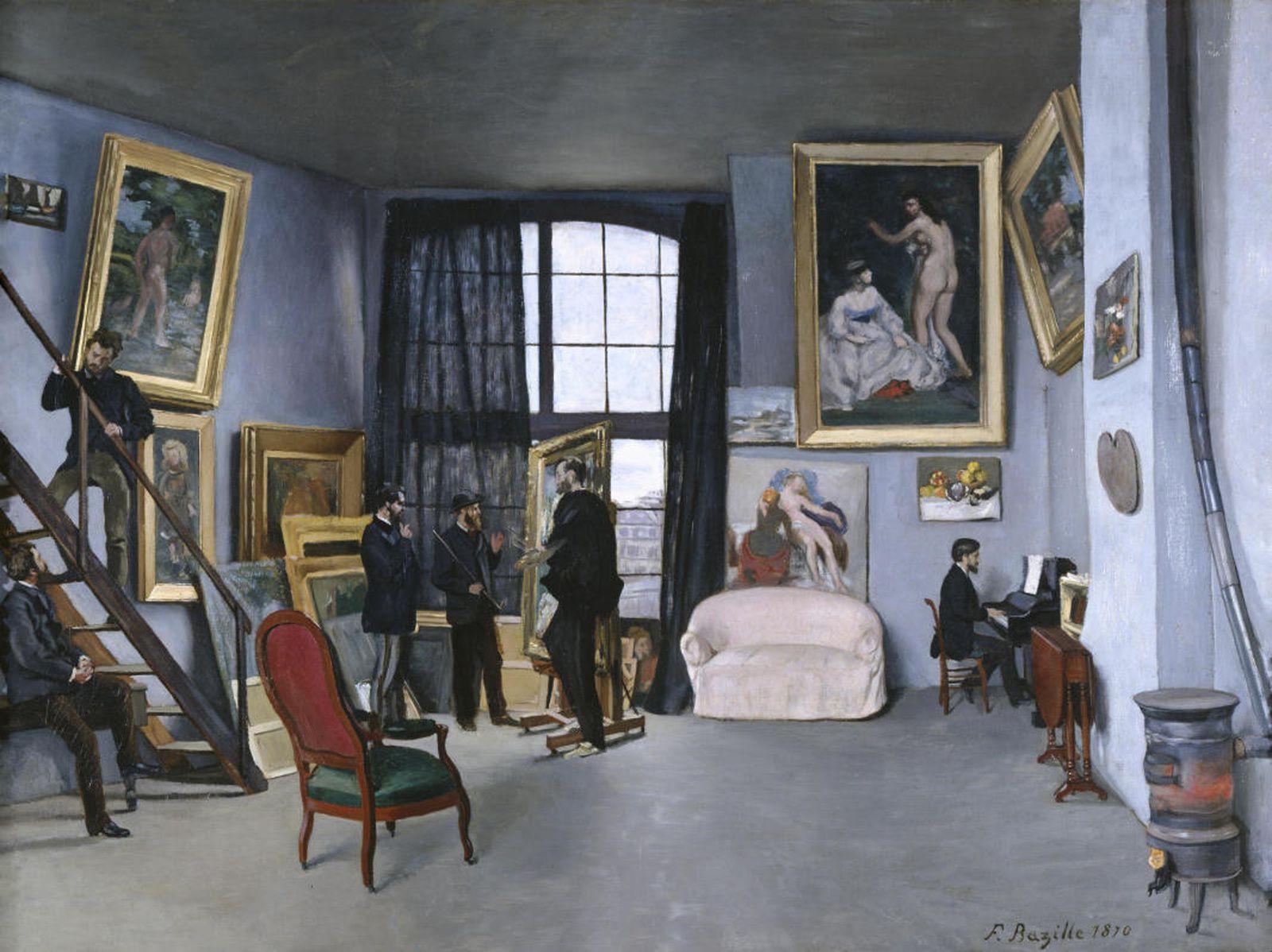 """""""LAtelier de Bazille 9 rue de la Condamine à Paris"""", 1869-1870 de Frédéric BAZILLE"""
