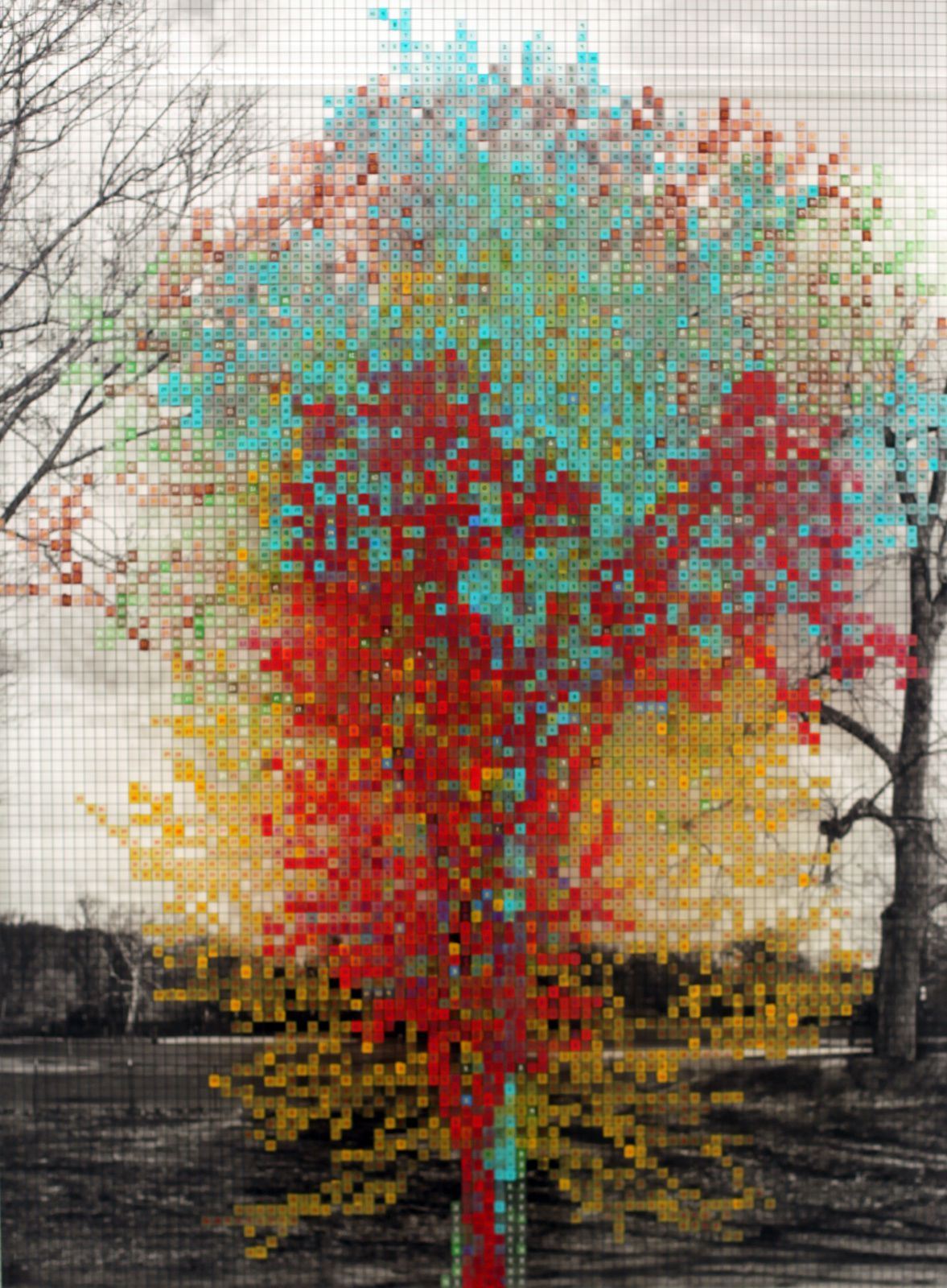 """Numbers and trees: Central Park Series III: Tree #4"", 2016 de Charles GAINES - Courtesy Galerie Max Hetzler © Photo Éric SIMON"