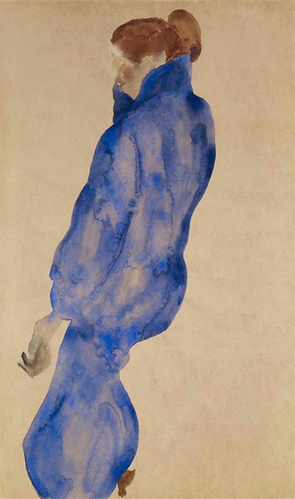 """Femme à la robe Bleue"", 1911 d'Egon Schiele - Courtesy Collection Alicia KOPLOWITZ - Grupo Omega Capital"