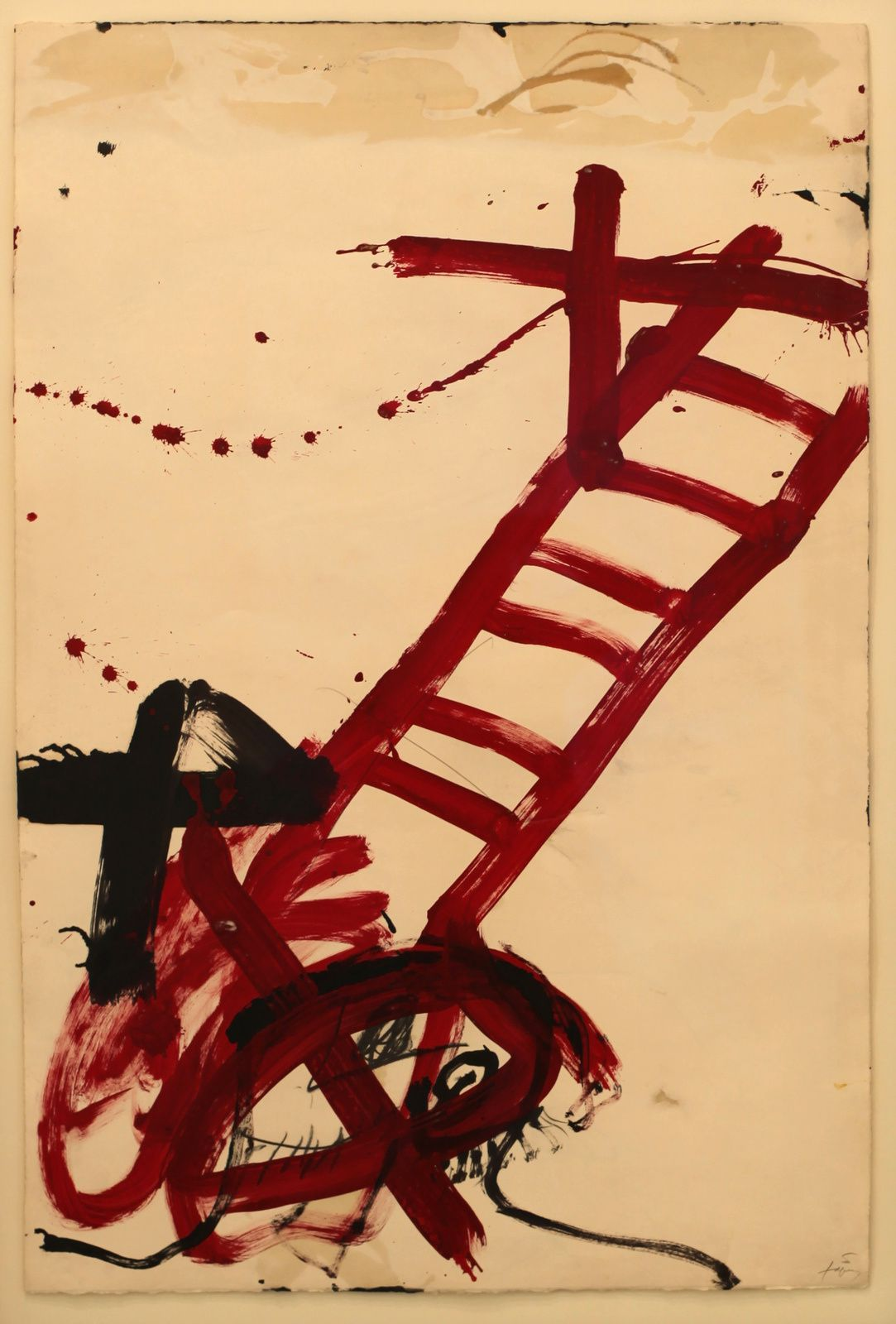 """Escala vermella I"", 1983 d'Antoni TÀPIES - Courtesy Galerie Lelong © Photo Éric Simon"