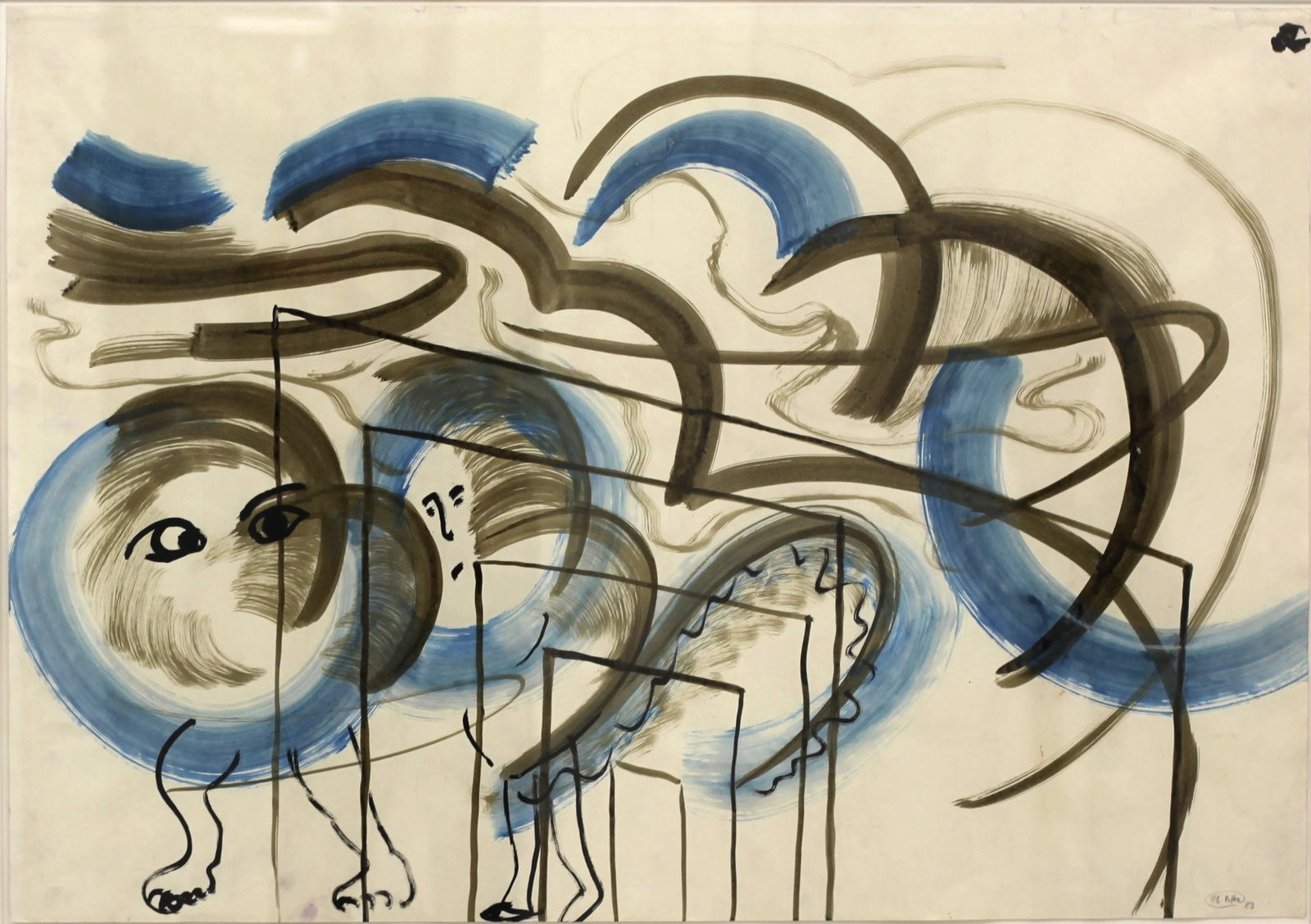 """Ohne Titel (Tier in Blau) / Untitled (Animal in Blue)"", 1983 de Sigmar POLKE - Courtesy Galerie SUZANNE TARASIEVE © Photo Éric Simon"