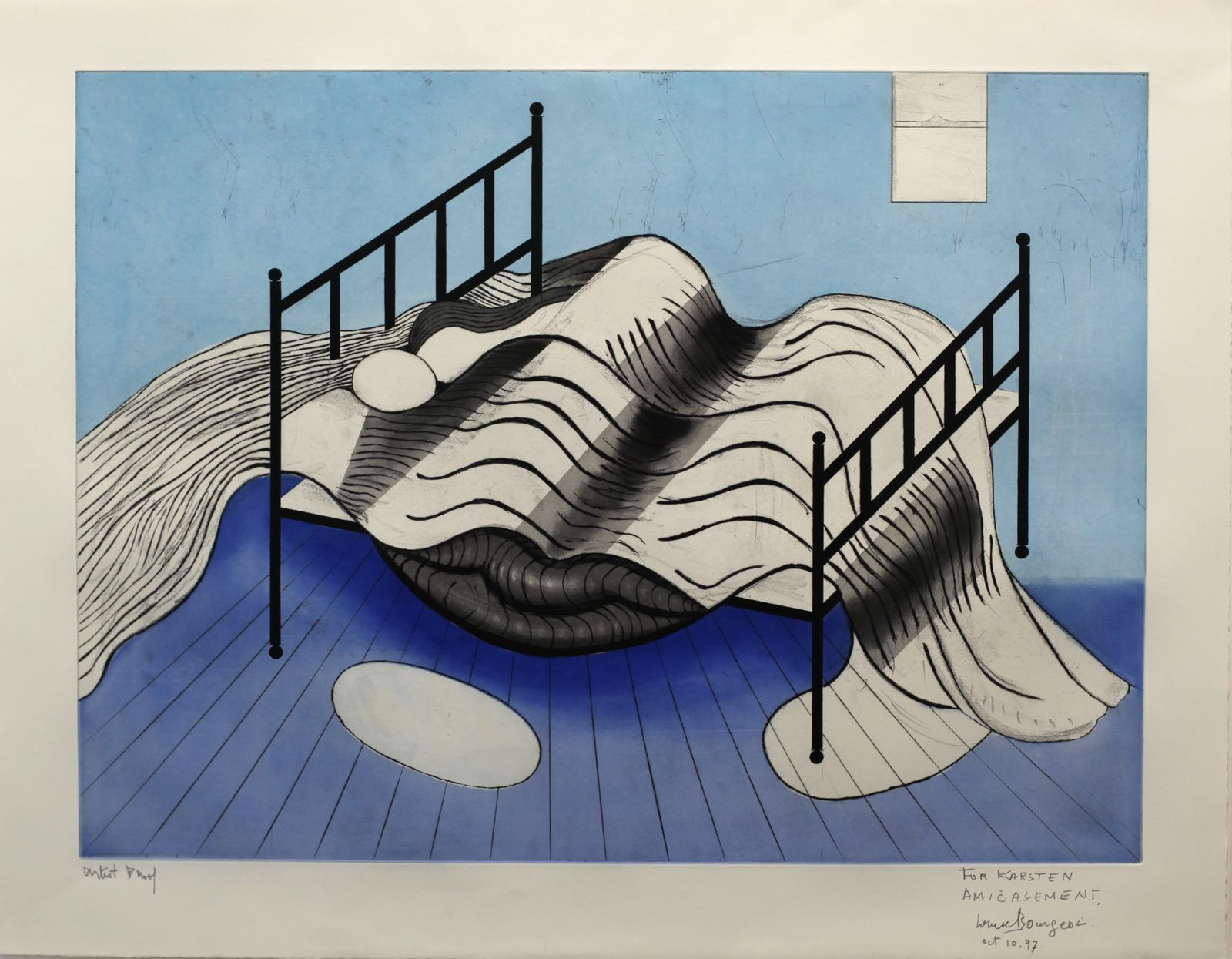 """Untitled (Le lit, gros Edredon, bleu)"", 1997 de Louise BOURGEOIS - Courtesy Galerie Karsten Greve © Photo Éric Simon"