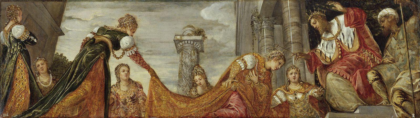 """""""Esther devant d'Assuérus"""" vers 1554-1555 de TINTORET - Courtesy Madrid, Museo Nacional del Prado"""