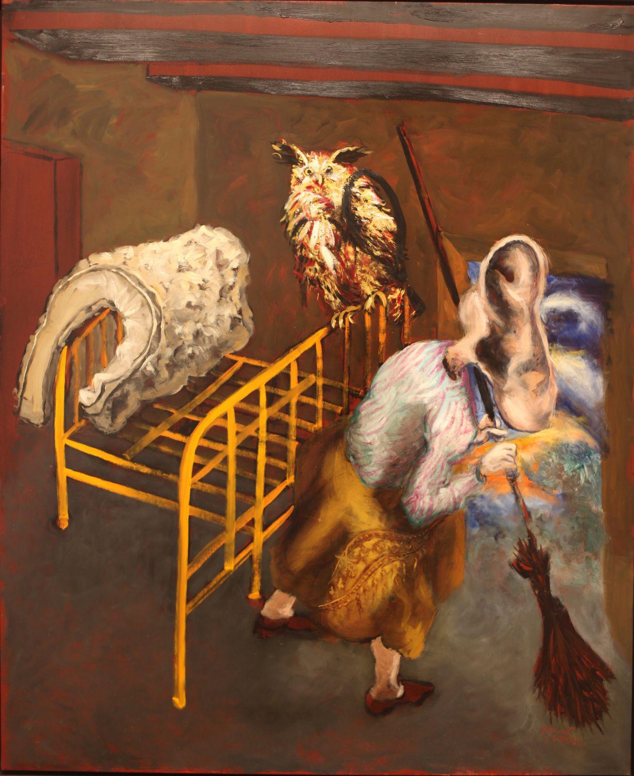 """""""Le grand duc et la femme à l'oreille"""", 2016 de Gerard GAROUSTE - Courtesy Galerie Daniel TEMPLON © Photo Éric Simon"""