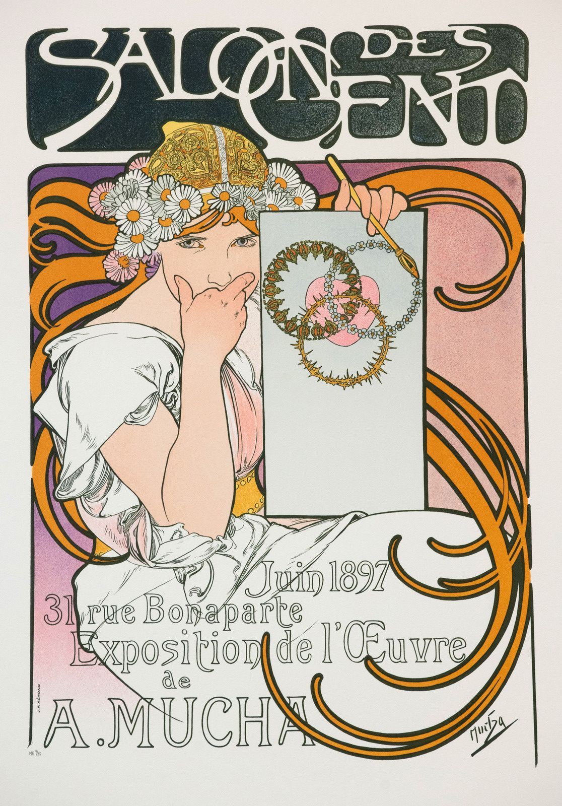 """Salon des Cent"", 1897 de Alphonse MUCHA. Prague, Fondation Much.  Mucha Trust 2018"