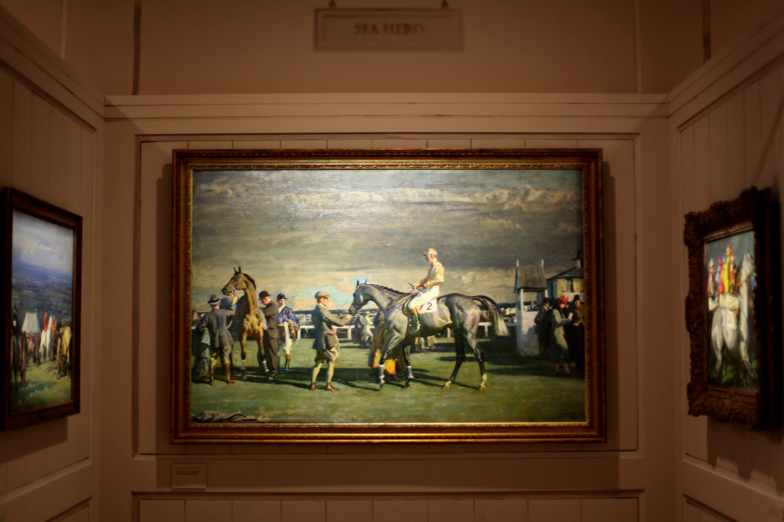 """Après la course, le paddock à Cheltenham Saddling"", 1946 de Sir Alfred  MUNNINGS  - Courtesy The Paul Mellon Collection, Virginia Museum of Fine Arts © Photo Éric Simon"