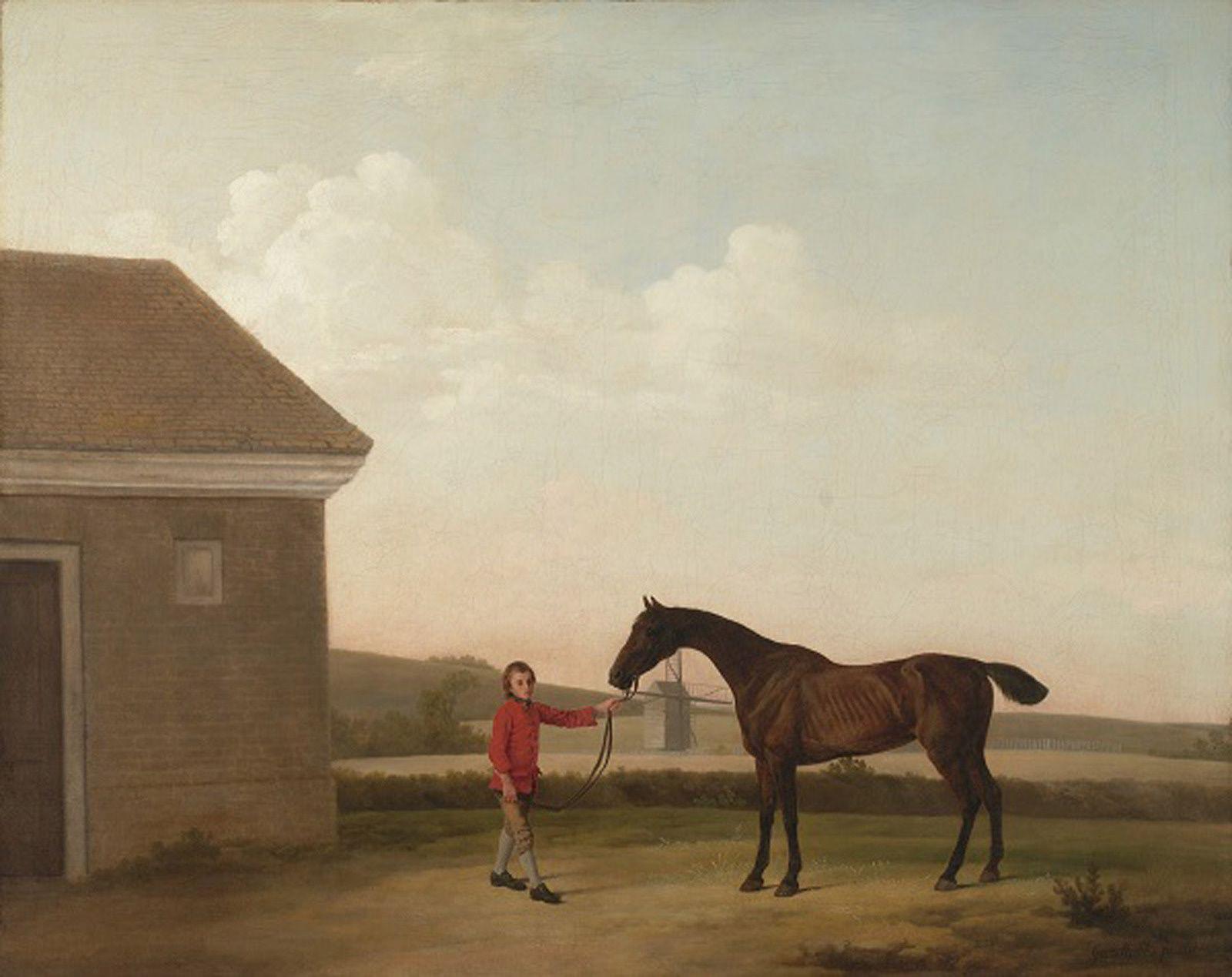 """""""Portrait d'Hyena à Newmarket accompagné de son lad Jerison Shafta"""", vers 1765-1767 de George STUBBS"""
