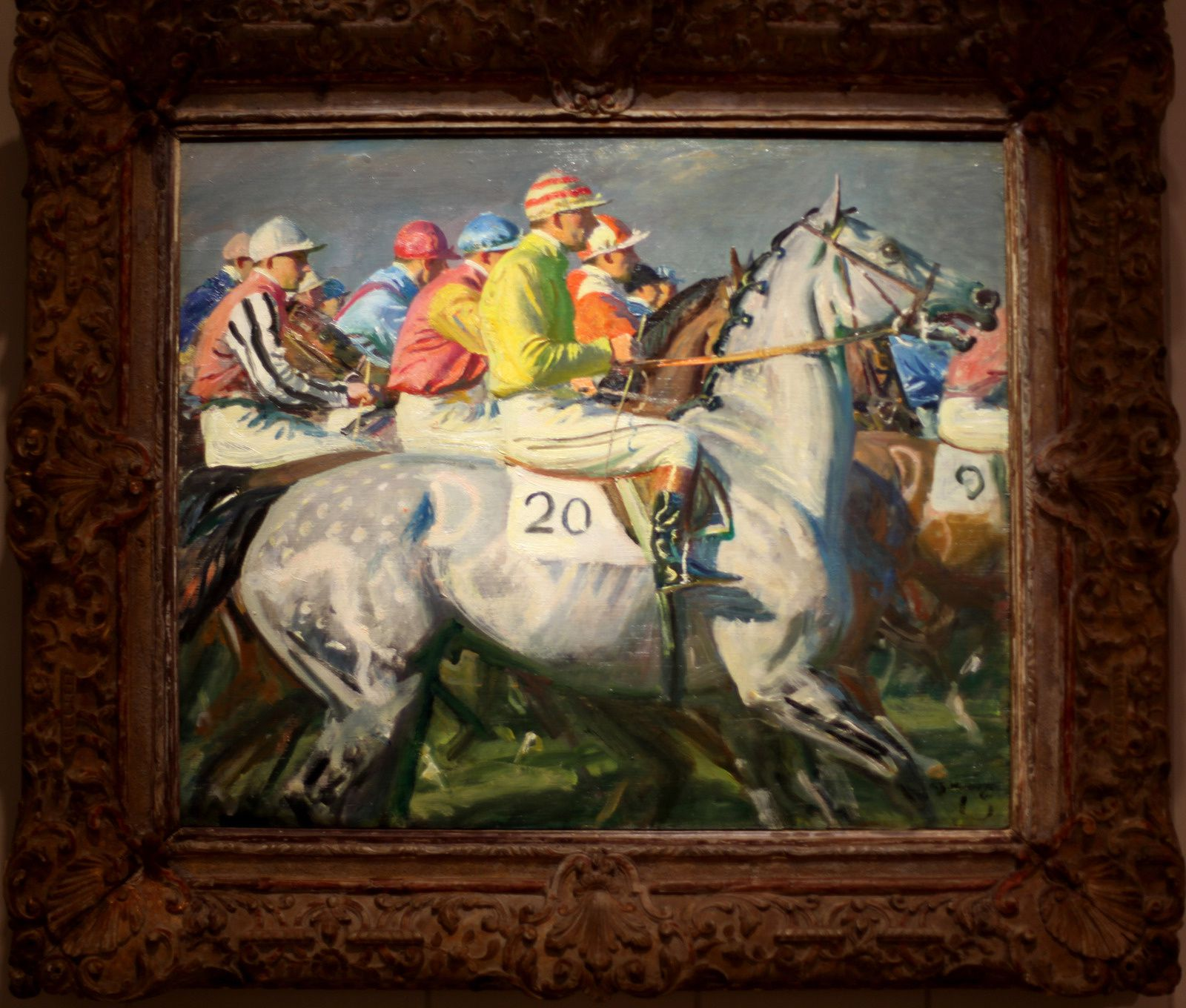 """En ligne ! Newmarket"", vers 1940-1953 de Alfred James MUNNINGS - Courtesy The Paul Mellon Collection, Virginia Museum of Fine Arts © Photo Éric Simon"