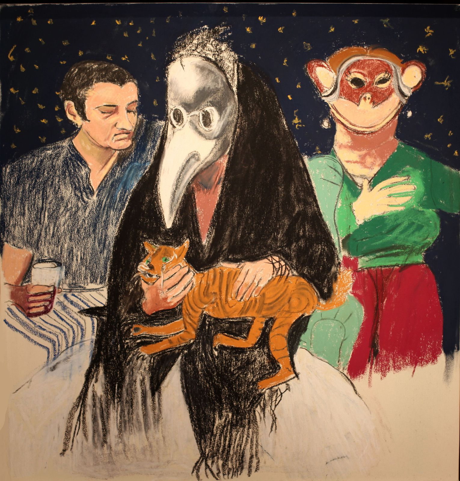 """Self-Portrait (Triptych), 2015 de Paula REGO - Courtesy Galerie Sophie Scheidecker © Photo Éric Simon"