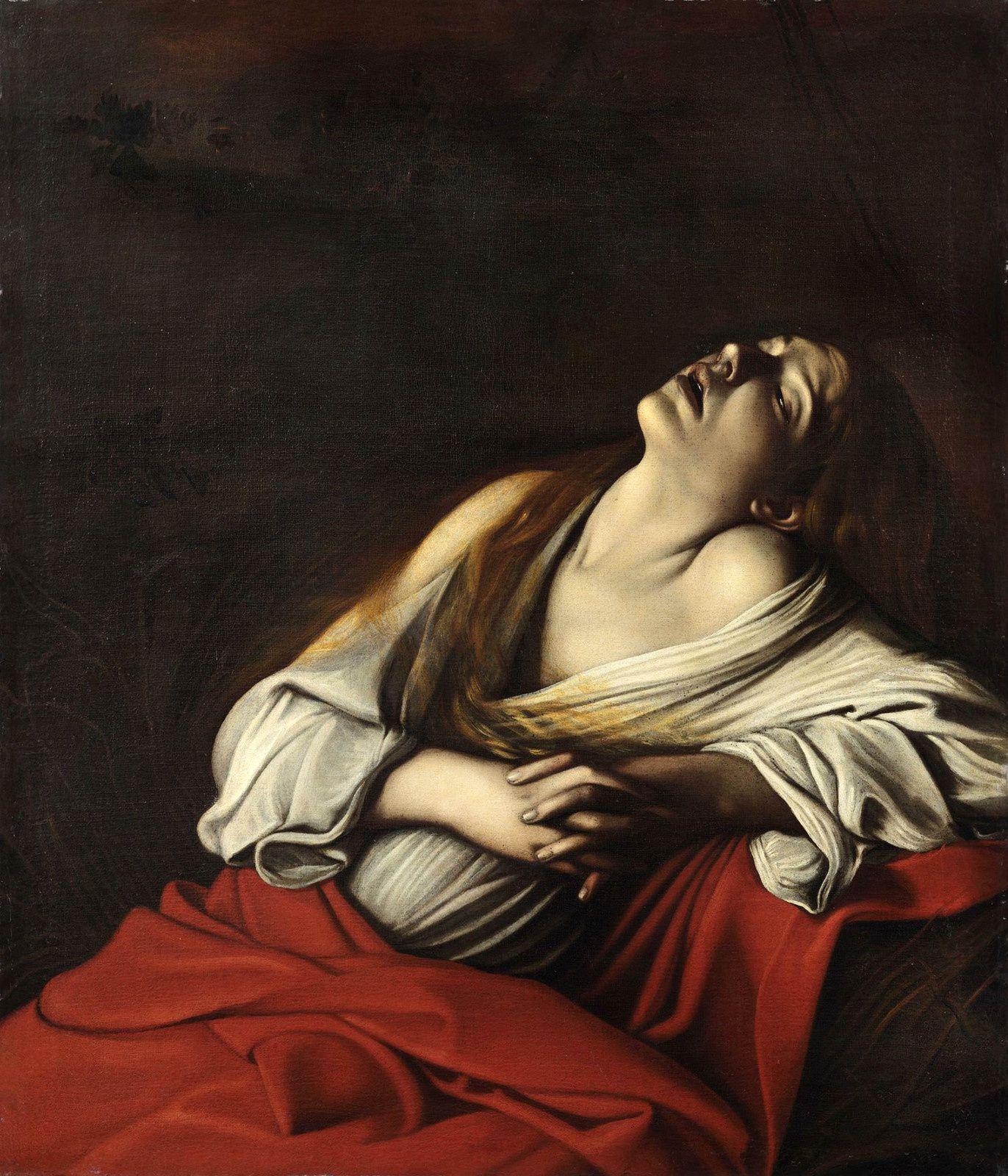 """""""Madeleine en extase dite « Madeleine Klain"""", 1606 de Michelangelo Merisi, dit Caravage -  Collection particulière, Rome"""