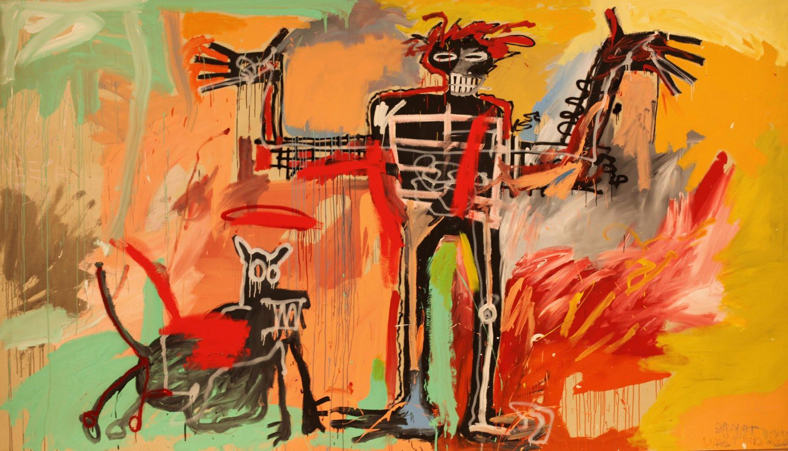 """""""boy and dog in a Johnnypump"""", 1982 de Jean Michel BASQUIAT - Courtesy The Brant Foundation, Greenwich, Connecticut   © Photo Éric Simon"""