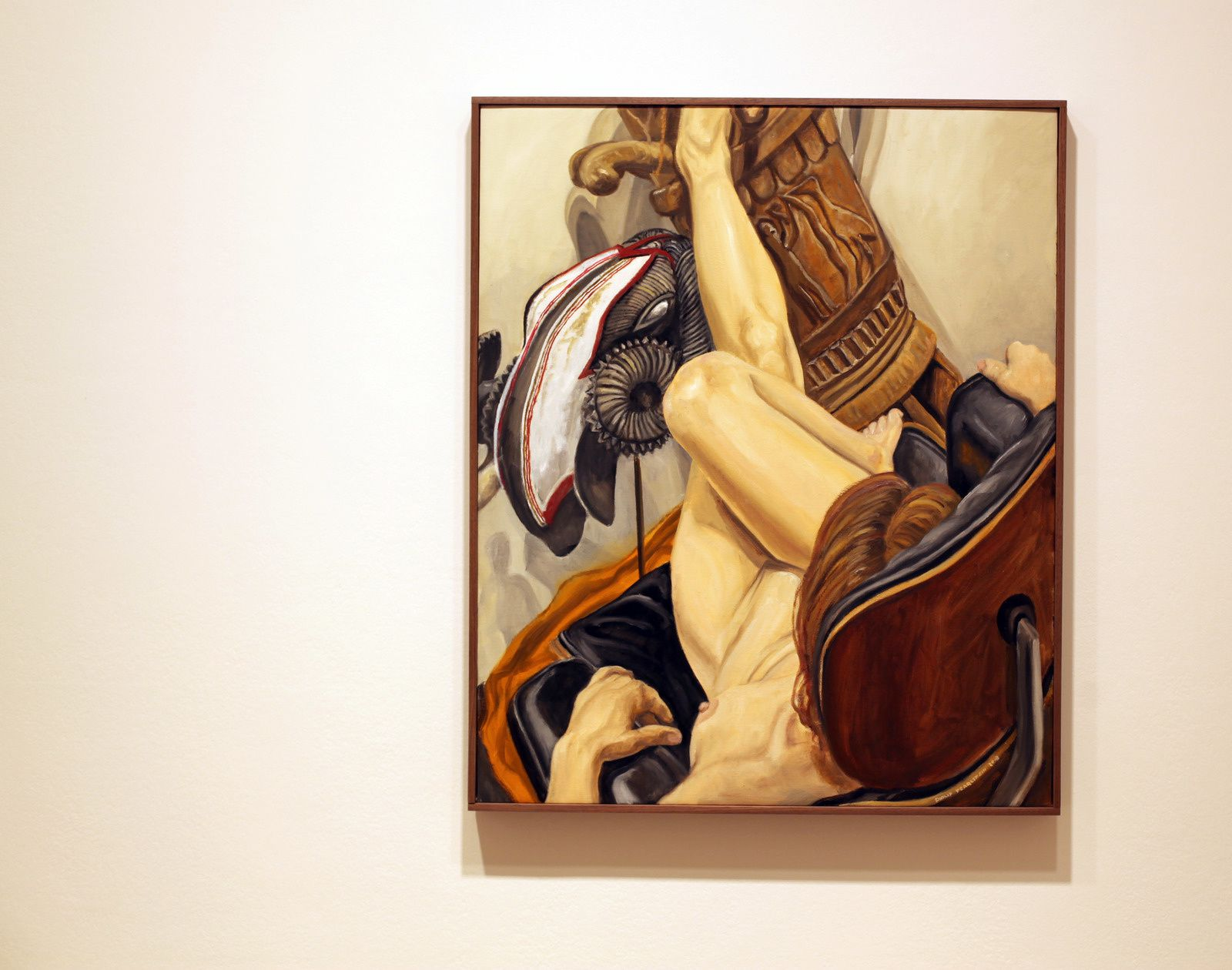 """""""Model on Eames Chair with African Drum and Mask"""", 2018  de Philip PEARLSTEIN - Courtesy Galerie Templon © Photo Éric Simon"""
