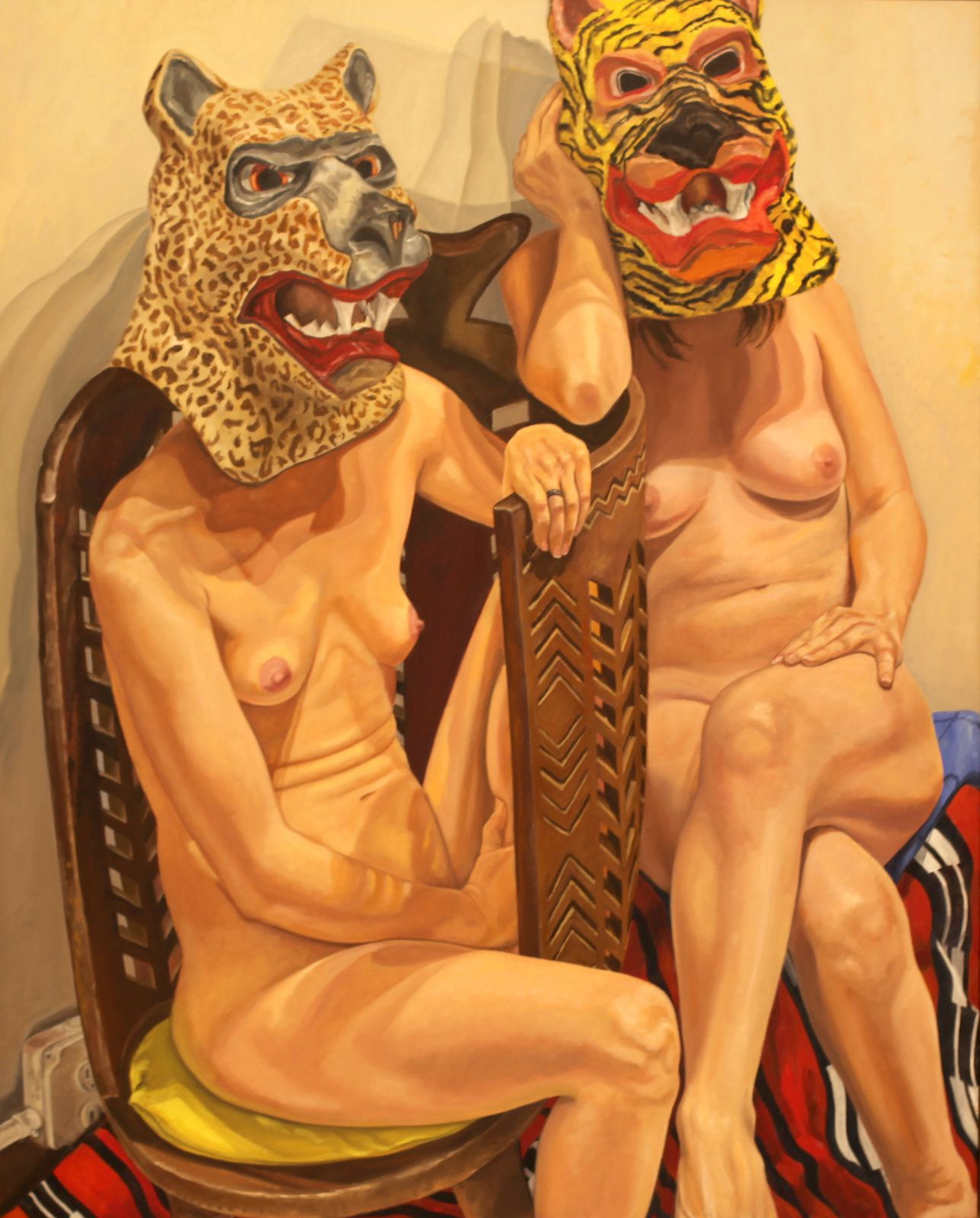 """""""Two Models in Masks with African Chair"""", 2015  de Philip PEARLSTEIN - Courtesy Galerie Templon © Photo Éric Simon"""