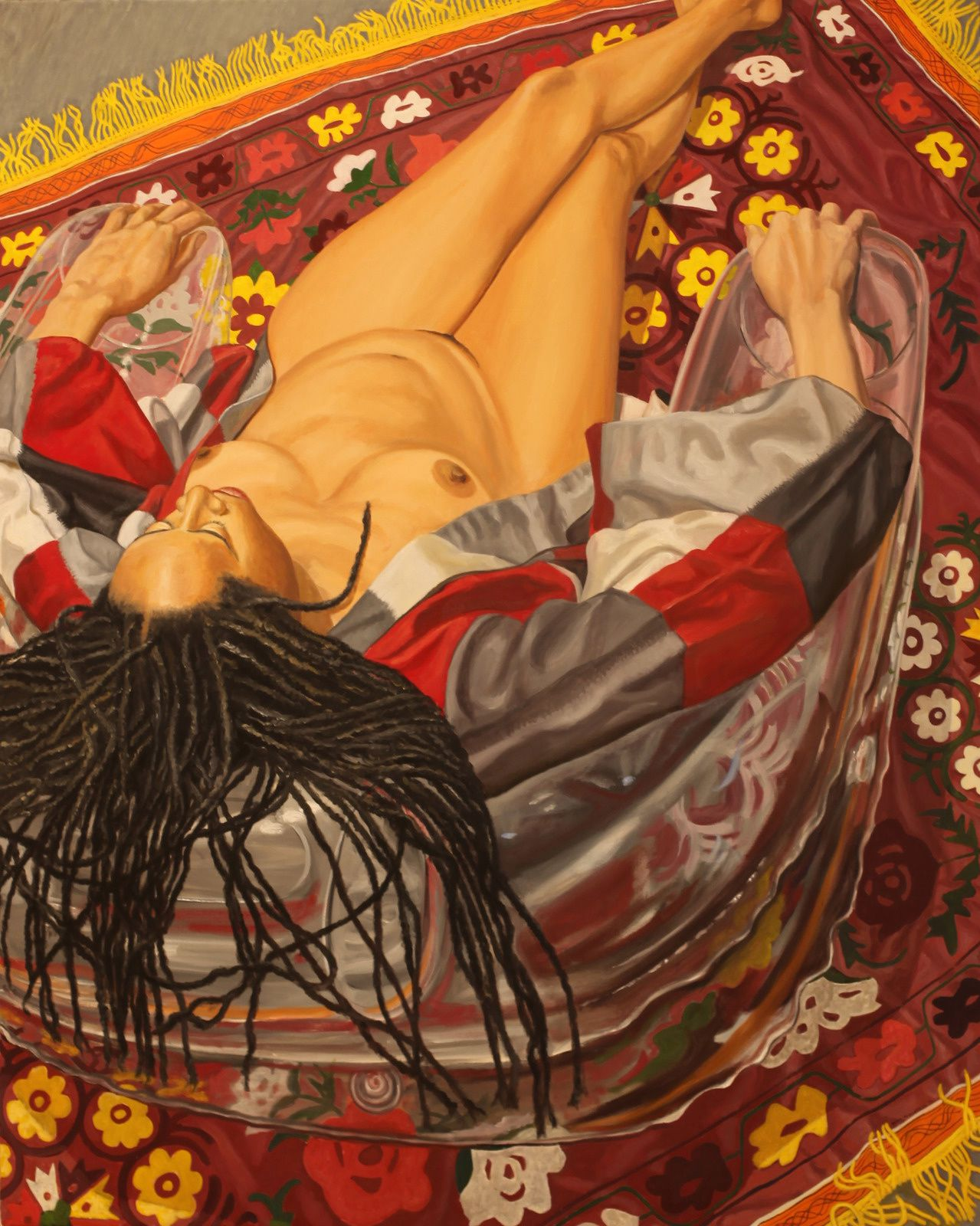 """""""Model with Kimono on clear Plastic Chair with Floral Rug"""", 2011  de Philip PEARLSTEIN - Courtesy Galerie Templon © Photo Éric Simon"""