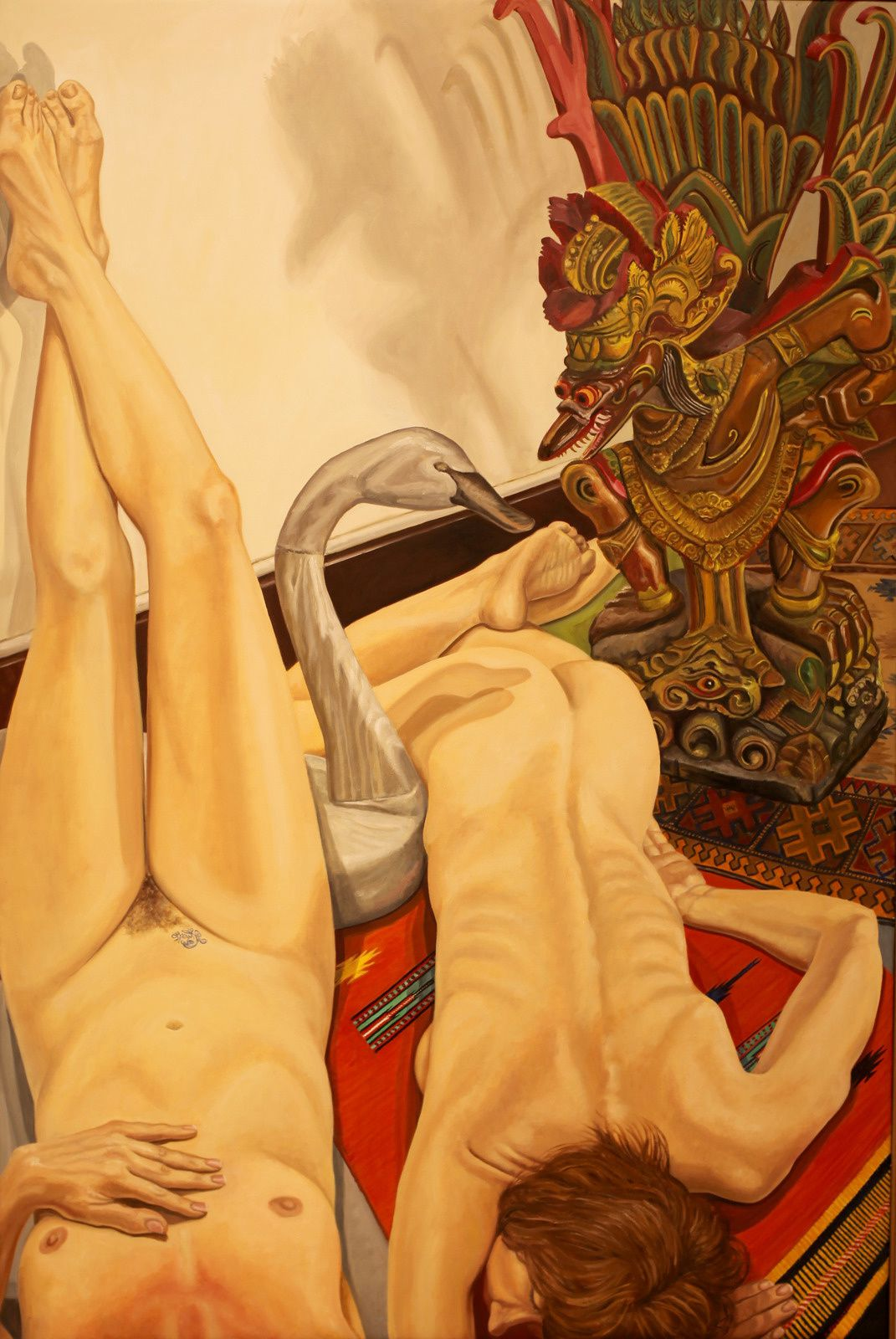 """""""Two models with Swan Decoy and Carved Garuda Figure"""", 2013  de Philip PEARLSTEIN - Courtesy Galerie Templon © Photo Éric Simon"""