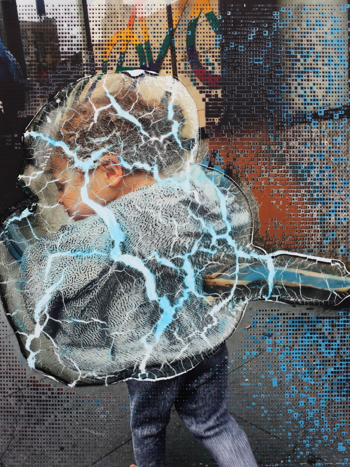 """Social Space: Rainbow Signal, Cracked police Barrier, Boy with Virus Pattern"", 2019 de Seth PRICE - Courtesy Galerie Chantal Crousel © Photo Éric Simon"