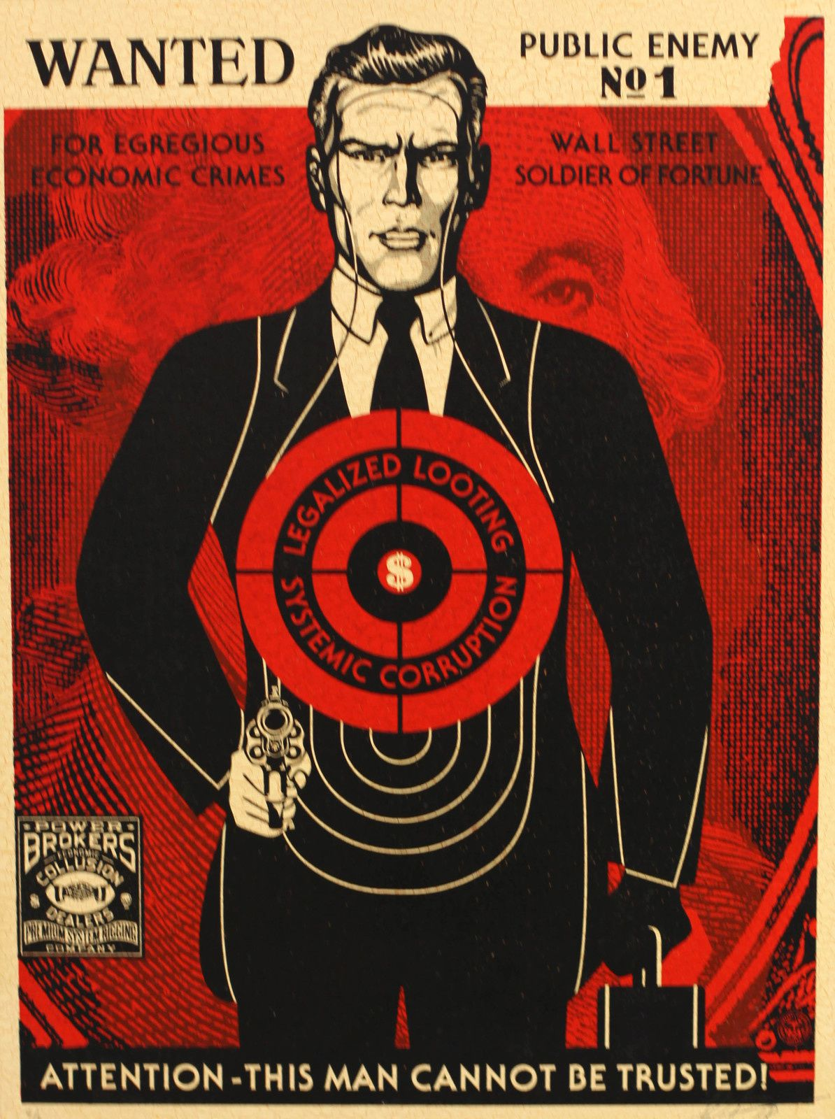 """Wall Street Public Enemy"", 2018 de Shepard FAIREY - Courtesy Galerie Itinerrance © Photo Éric Simon"