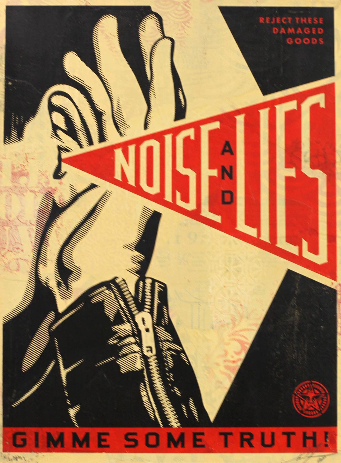 """Noise and Lies"", 2018 de Shepard FAIREY - Courtesy Galerie Itinerrance © Photo Éric Simon"