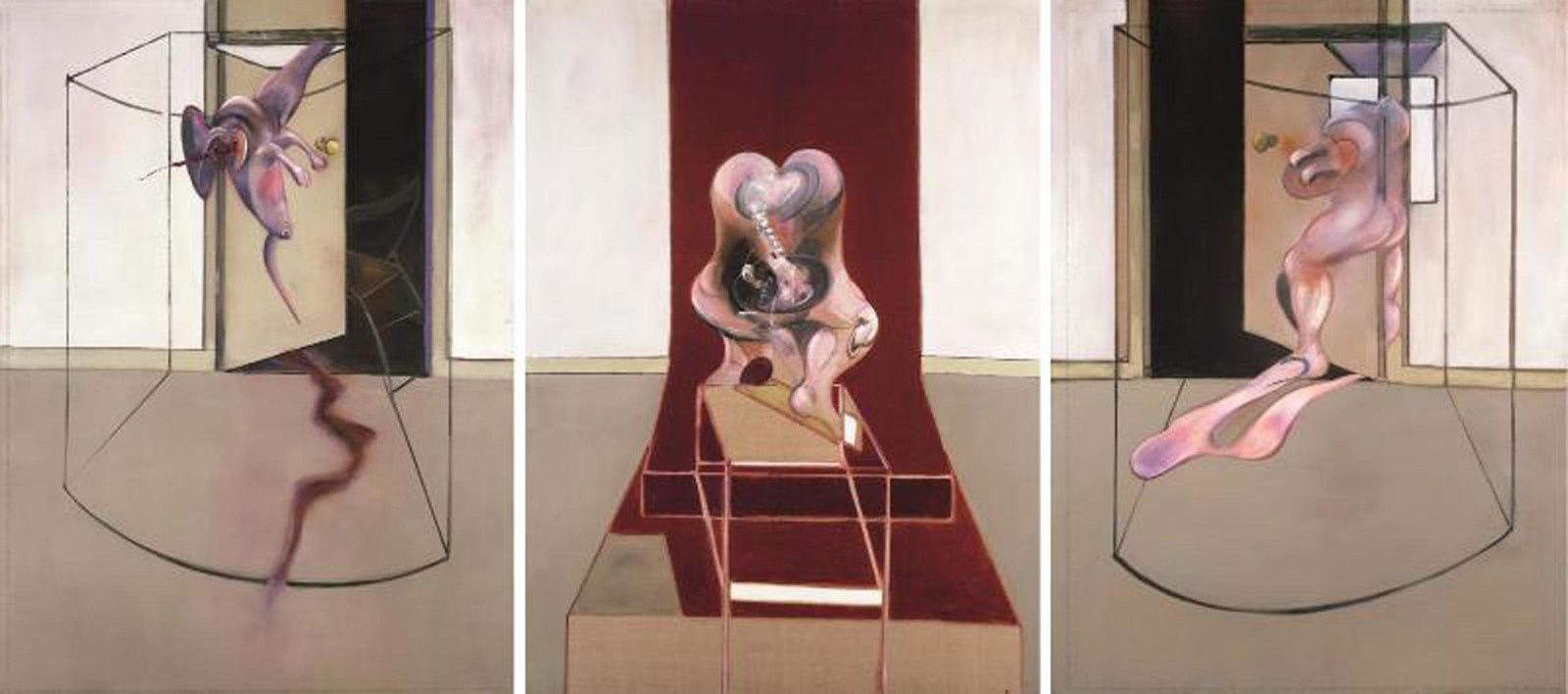 """Triptych Inspired by the Oresteia of Aeschylus"", 1981 de Francis BACON - astrup Fearnley muse et fur moderne Kunst, oslo © the estate of Francis bacon /all rights reserved / adagp, paris and dacs, london 2019 © the estate of Francis bacon. all rights reserved. dacs/artimage 2019. photo: prudence cuming associates ltd"