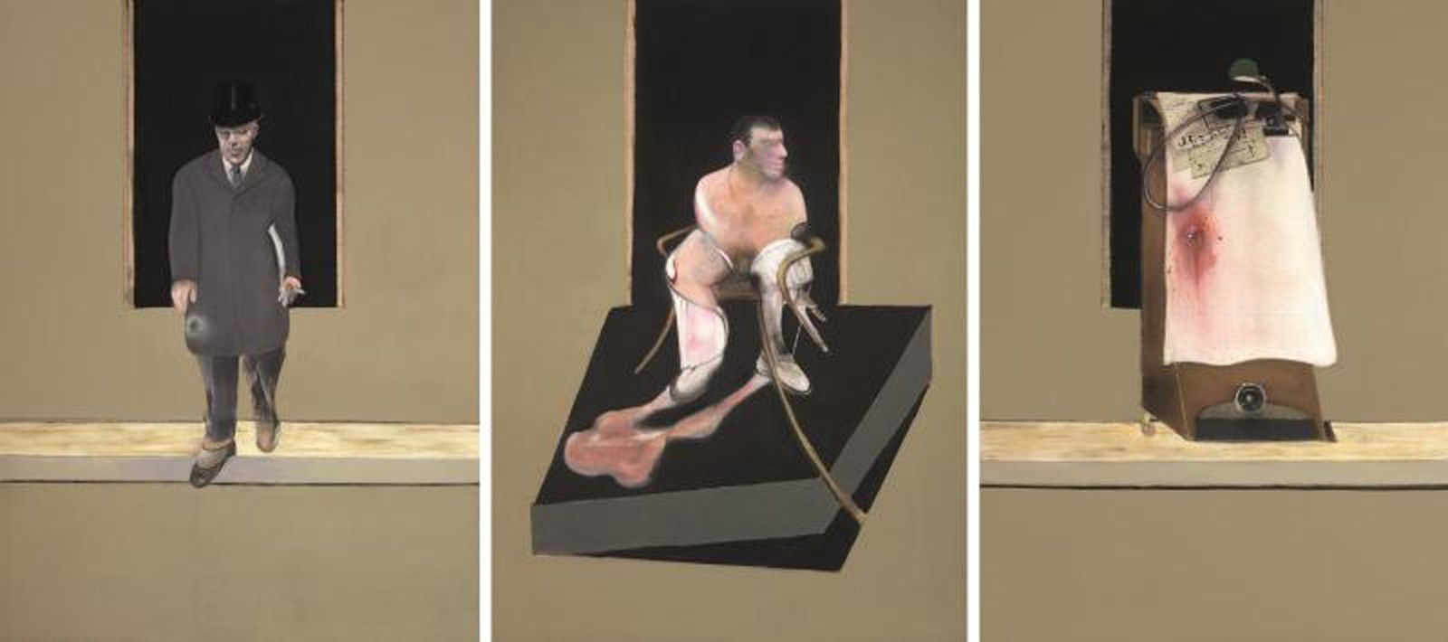 """Triptych 1986-7 CR87-01"", 1986-1987 de Francis BACON - Collection Privée, londres © the estate of Francis bacon /all rights reserved / adagp, paris and dacs, london 2019 © the estate of Francis bacon. all rights reserved. dacs/artimage 2019. photo: prudence cuming associates ltd"