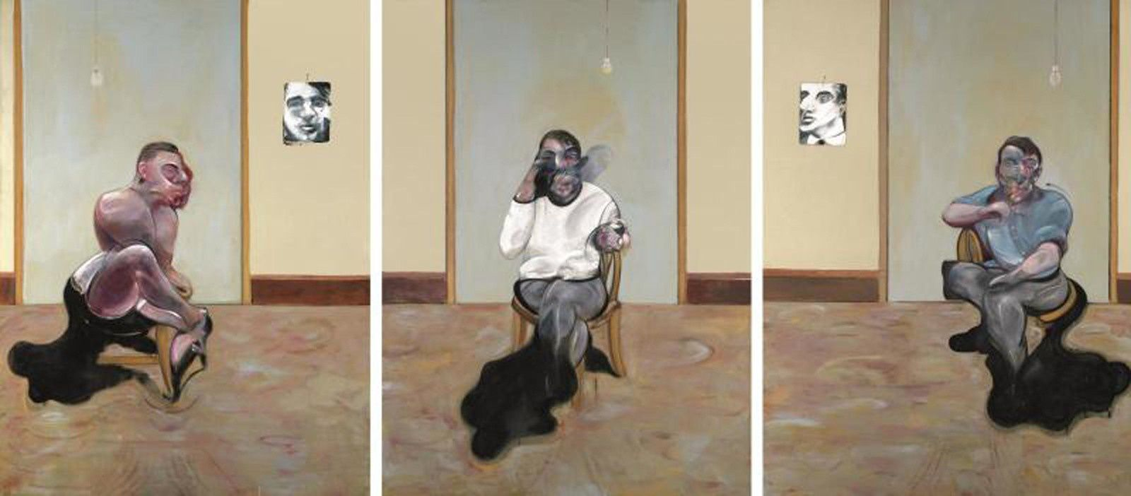"""""Three Portraits - Posthumous of George Dyer; Self-Portrait; Portrait of Lucian Freud"", 1973 de Francis BACON - The Estate of Francis Bacon. All rights reserved. DACS/Artimage 2019. Photo: Prudence Cuming Associates Ltd"