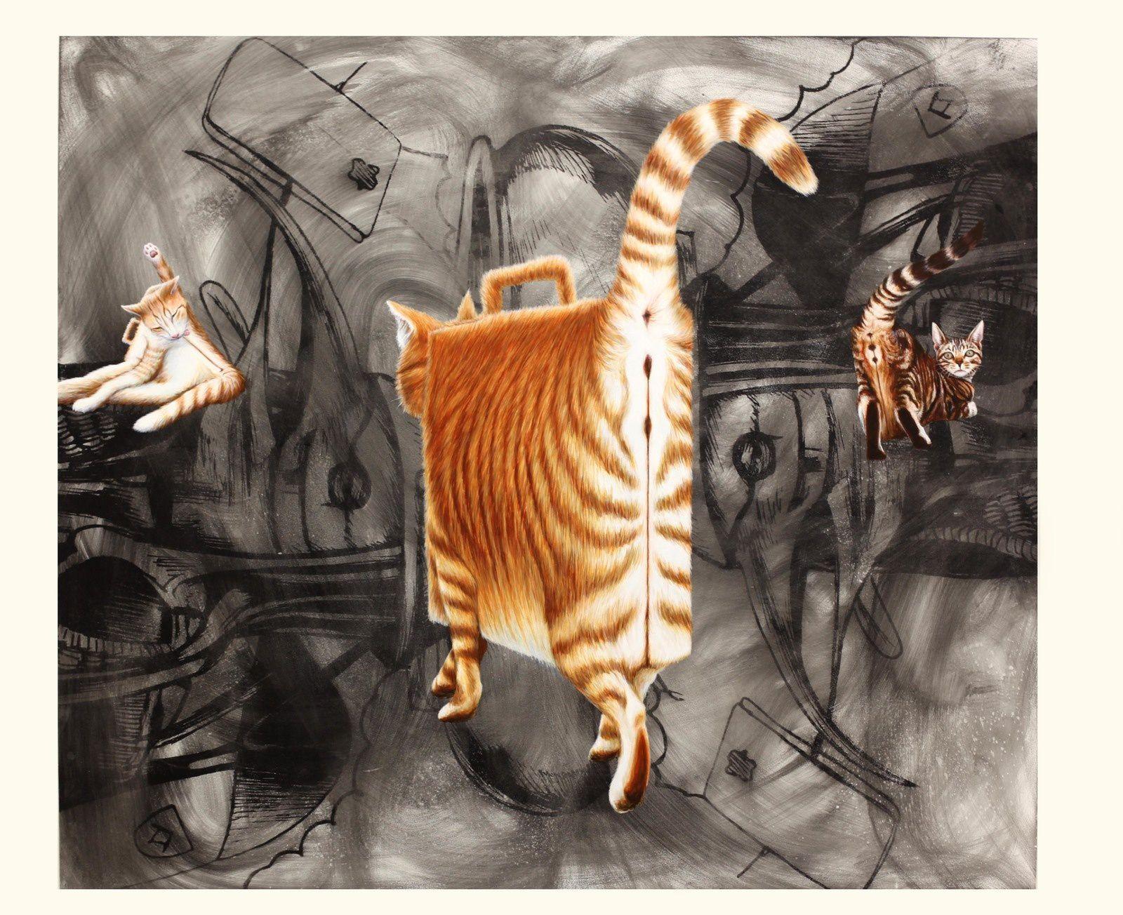 """""""Briefcase Cats"""", 2019 de Jim SHAW - Courtesy Galerie Praz-Delavallade © Photo Éric Simon"""