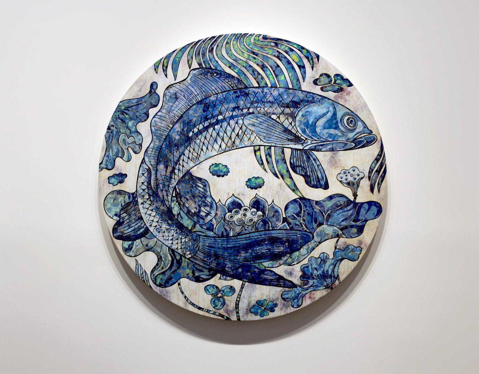 """""""Fish Paintings"""", 2019 de Takashi MURAKAMI - Courtesy de l'Artiste et la Galerie Perrotin © Photo Éric Simon"""