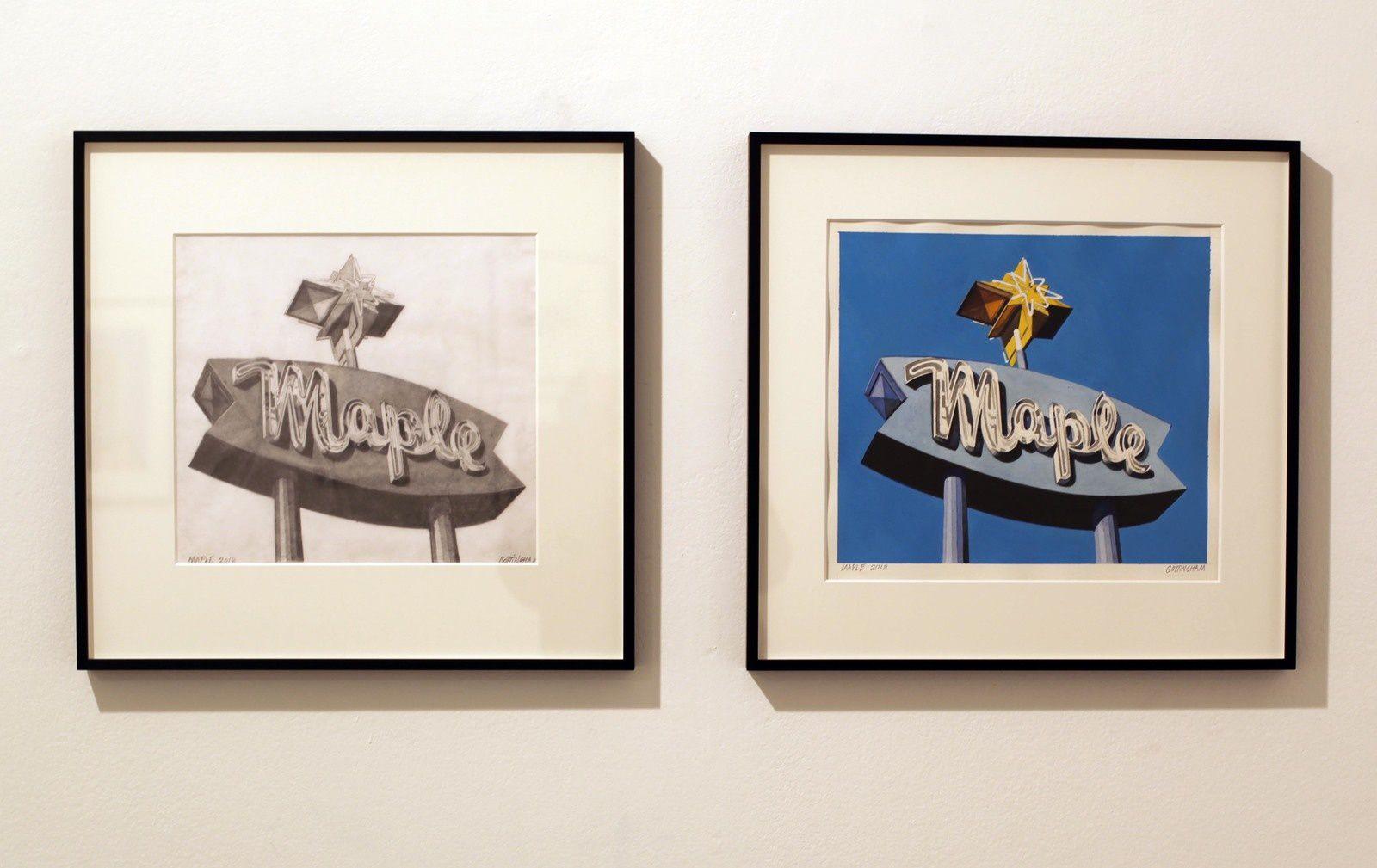 """""""Maple"""", 2018 et """"Maple"""", 2018 de Robert COTTINGHAM - Courtesy Galerie Georges-Philippe & Nathalie Vallois © Photo Éric Simon"""