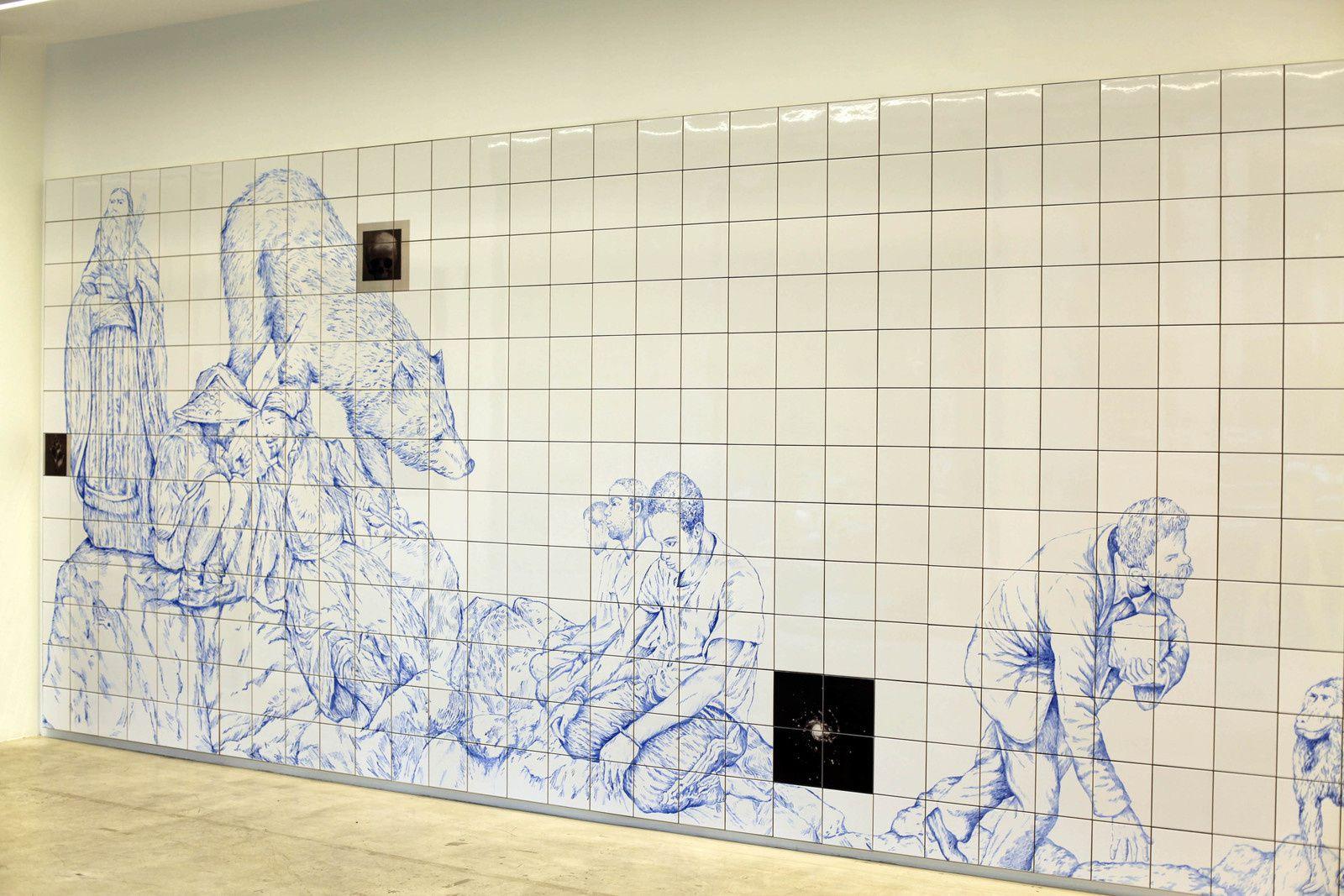 """Détail """"Azulejos"""", 2019 de Pietro RUFFO - Courtesy Galerie Italienne © Photo Éric Simon"""