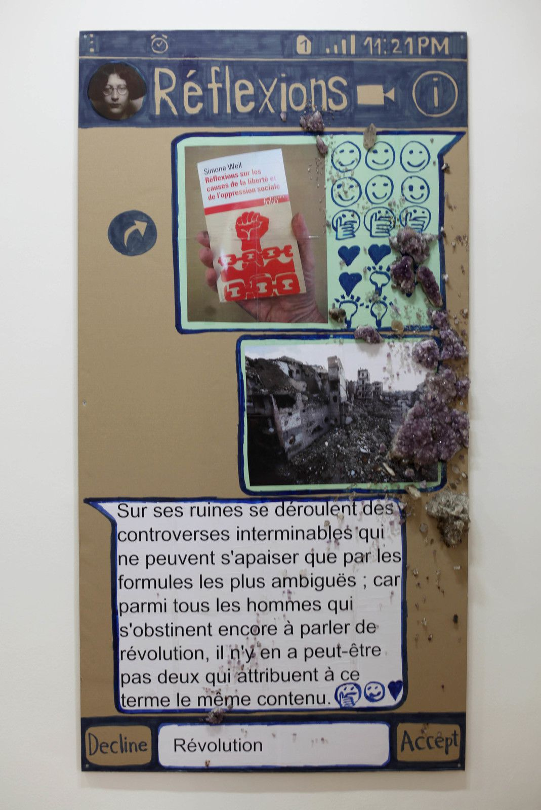 """Reflexions (Chat - poster)"", 2020 de Thomas HIRSCHHORN - Courtesy Galerie Chantal Crousel @ Photo Éric Simon"