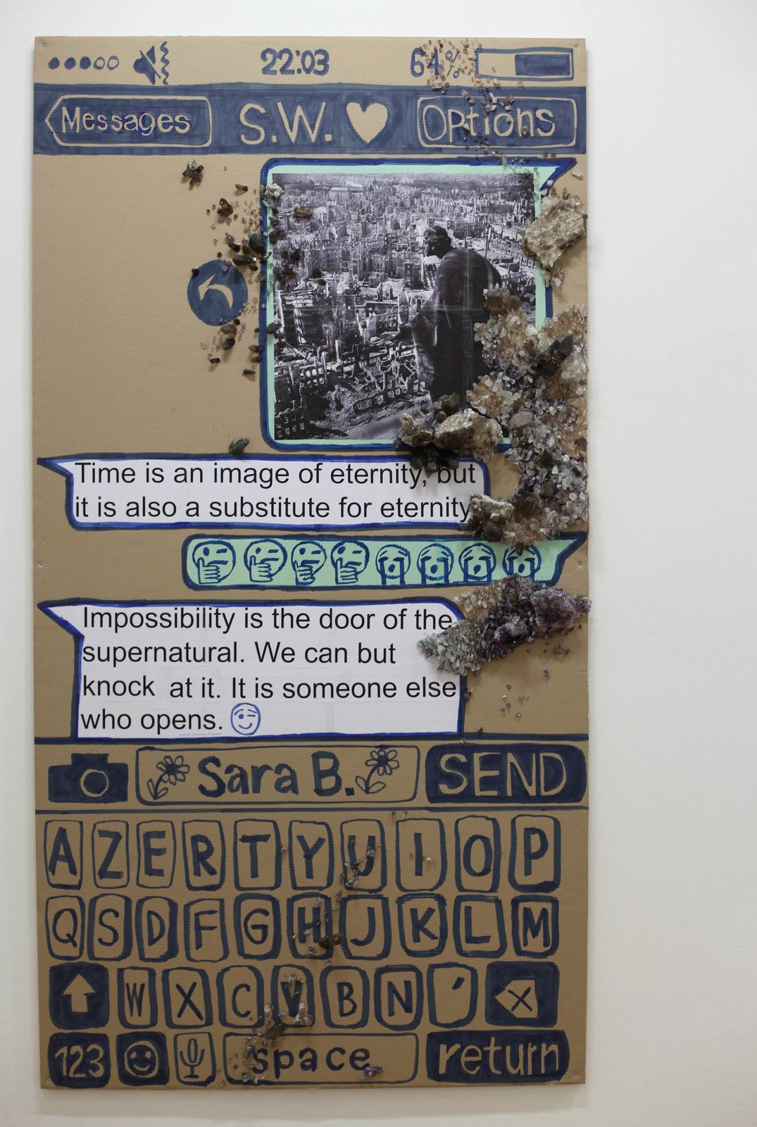 """S.W. (Chat - poster)"", 2020 de Thomas HIRSCHHORN - Courtesy Galerie Chantal Crousel @ Photo Éric Simon"