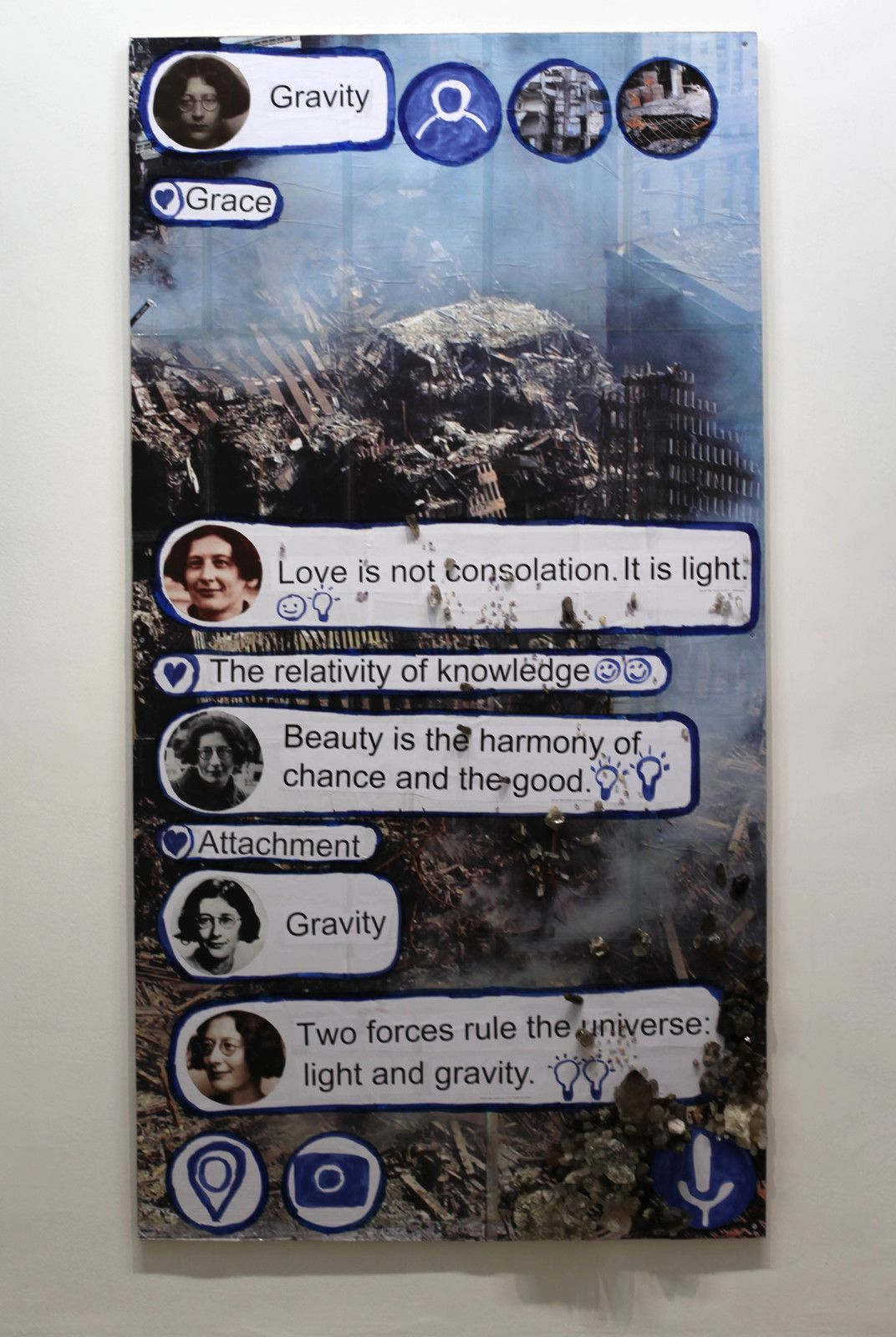 """Gravity  (Chat - poster)"", 2020 de Thomas HIRSCHHORN - Courtesy Galerie Chantal Crousel @ Photo Éric Simon"