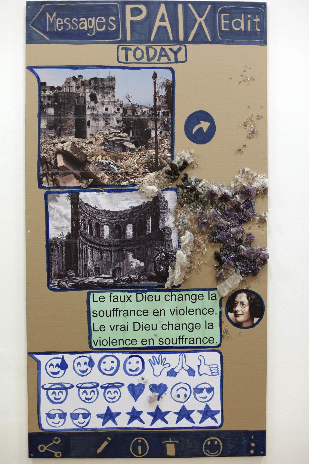 """Paix (Chat - poster)"", 2020 de Thomas HIRSCHHORN - Courtesy Galerie Chantal Crousel @ Photo Éric Simon"