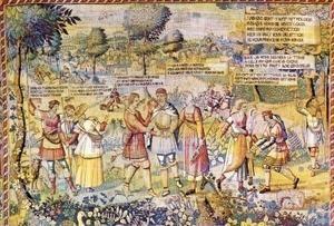 Le lai d'Aristote est également traité sur une des tapisseries de la Tenture des Amours de Gombault et Macée, conservée au musée de Saint-Lô.