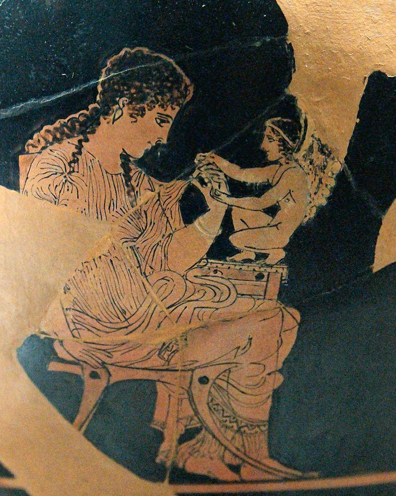 Éros représenté ici sur un Skyphos attique à figures rouges (420-410 av. J.-C.) provenant d'Athènes