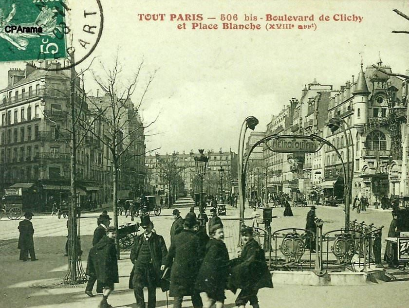 Le métro hier et aujourd'hui (photos 1 à 4).             L'immeuble à pan coupé du 1 (photo 5) .  Le café de la place Blanche en 1910 (photo 6)