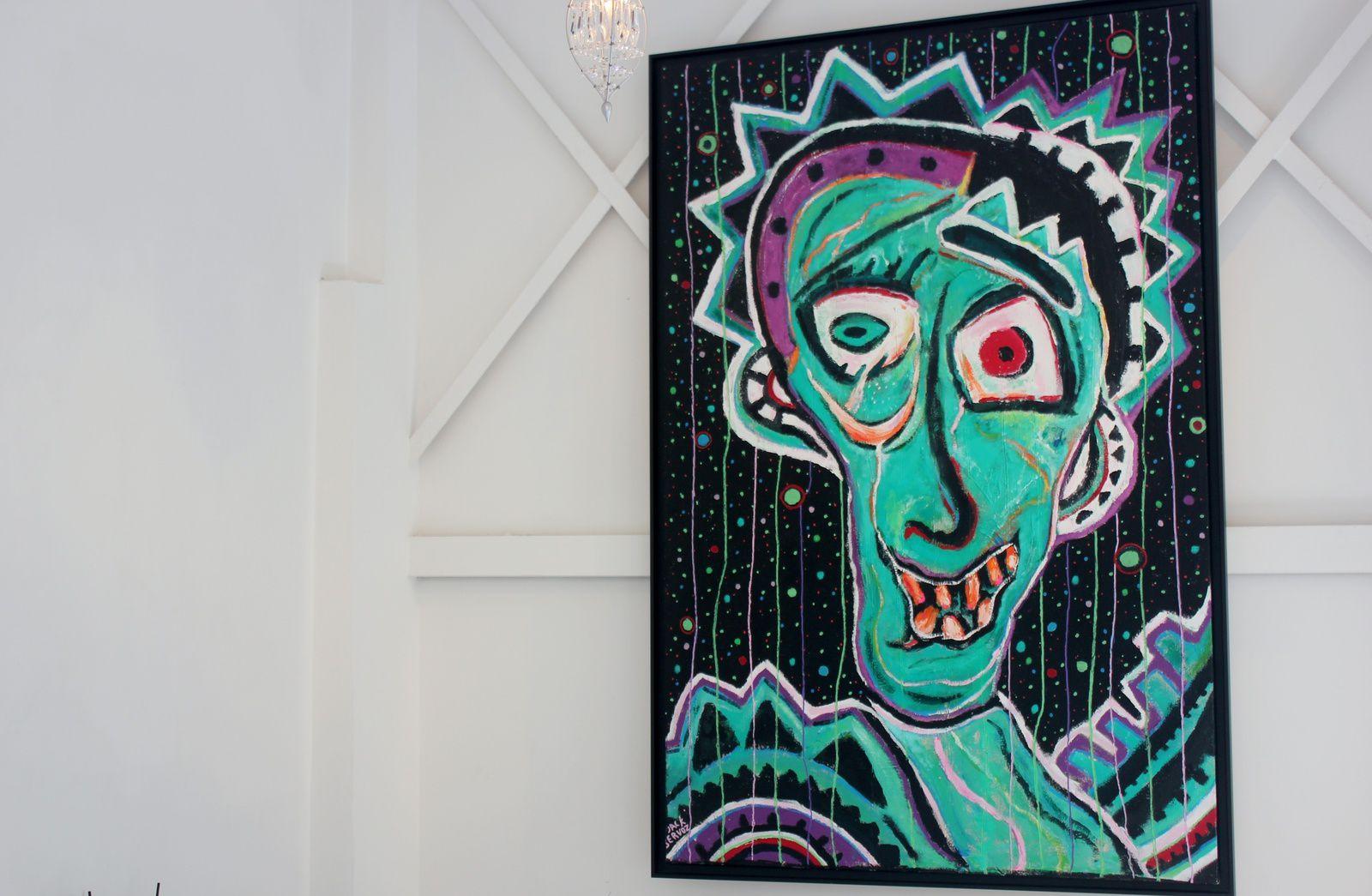 Jack Servoz et Aragon....................... Oeuvre de Servoz exposée dans la galerie